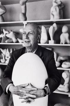 Jean Arp in his studio, Paris, 1959. Photographed by Alexander Liberman.