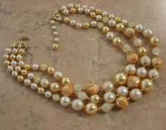 Vintage three strand beaded necklace cream & gold for wedding | vintage jewellery | Jewels & Finery UK