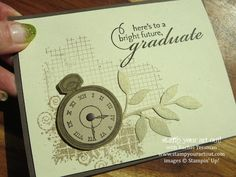 Great masculine card using 4 great products that are retiring soon: Pure Gumption, Clockworks, Off the Grid, and Little Leaves - Stampin' Up...