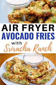 Enjoy these easy avocado fries in an air fryer. A crispy tasty appetizer or side dish that is perfect for lunches dinners or a party food (hello Super Bowl! Includes how to make air fried avocado fries with panko breadcrumbs with sriracha-ranch dip. Side Dish Recipes, Low Carb Recipes, Side Dishes, Healthy Recipes, Delicious Recipes, Healthy Food, Yummy Food, Yummy Appetizers, Appetizer Recipes