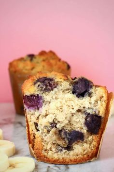 These Gluten-Free Vegan Blueberry Banana Bread Muffins are sweet and fruity, super easy to make and free from added sugar!
