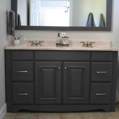 Espresso Painting Bathroom Cabinets For Double Sink Vanity and Large Mirror - Grezu : Home Interior Decoration Wooden Bathroom Vanity, Small Bathroom Mirrors, Painting Bathroom Cabinets, Painted Vanity, Bathroom Vanity Makeover, Bathroom Vanity Cabinets, Bathroom Ideas, Bathroom Vanities, Bathroom Storage