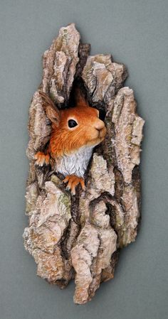 Red squirrel wall plaque sculpture in deep relief. by JustKirsty, £85.00