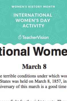 Do your students know why International Women's Day began? Help them learn about women in the past and their fight for better working conditions or the right to vote with this reading passage and activities. Reading Passages, Women's History, Educational Videos, Ladies Day, Teaching Kids, Lesson Plans, Literature, Students, Activities