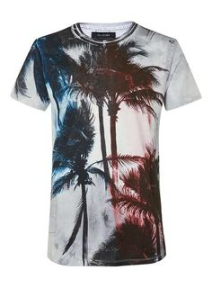 RELIGION Grey, Red and Blue Palm Print T-Shirt - Men's T-Shirts & Vests - Clothing - TOPMAN