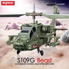 Syma s109g mini 3.5ch rc helicopter ah-64 apache gevechtshelikopters simulatie indoor radio afstandsbediening toys voor gift