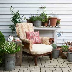 A mix of patchwork, rustic planters and vintage touches combine to create this wonderful cosy country-style garden. We have all kinds of rustic planters in the gift shop! Outdoor Rooms, Outdoor Living, Outdoor Furniture Sets, Outdoor Decor, Furniture Ideas, Painted Furniture, Furniture Design, Rustic Planters, Rustic Patio