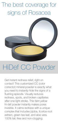 HiDEF CC Powder for Instant Redness Relief! #rosacea #yellowpowder