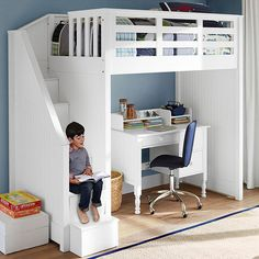 Awesome Kids Loft Bed With Stairs Catalina Stair Loft Bed Pottery Barn Kids in Home Interior Design Reference Bunk Bed With Desk, Bunk Beds With Stairs, Kids Bunk Beds, Loft Beds, Loft Bed Stairs, Loft Bed Desk, Loft Spaces, Small Spaces, Small Rooms