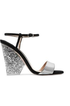 f19d9c417d0 Heel measures approximately 105mm  4 inches Silver leather