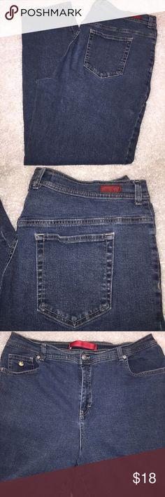 "Gloria Vanderbilt High Waist Stretch Jeans 98% cotton 2% spandex.  Slightly Tapered Leg. Tag size 16W. Measurements Laid Flat: Waist 18.5"" Rise 12.5"" ; Inseam 29.5"" Gloria Vanderbilt Jeans Straight Leg"