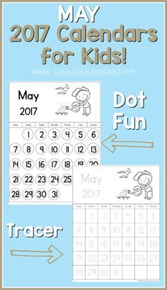 May Calendars for Kids - 1+1+1=1