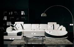 VGYIT57-B-Divani Casa T57 Modern White and Black Leather/ Leather Match Sectional SofaFinishing:White and Black Leather/ Leather Match Sectional SofaDimensions:Straight Chaise:W57''xD81''x H31''Sofa:W40'' x D55'' x H31''Round edge shaped chaise: W40'