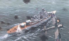 KMS Bismarck under attack by Swordfish
