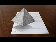 How to draw a floating/levitating pyramid. trick art on line paper anamorphic optical illusion. Materials used: cardstock, pencil, fine line pen,. Trick Art, 2b Pencil, Anamorphic, Art 3d, Art Tips, Optical Illusions, Pencil Drawings, Paper Art, Card Stock