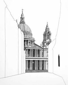 Architectural pencil drawings by the artist Minty Sainsbury. Baroque Architecture, Architecture Graphics, Japanese Architecture, Pantheon Paris, Elevation Drawing, Angel Drawing, Glasgow School Of Art, Architectural Prints, A Level Art