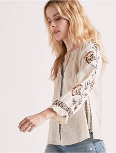 70b2e2fcbb1a4e EMBROIDERED PEASANT TOP, NATURAL MULTI Plus Size Shirts, Linen Blouse,  Embroidered Blouse,