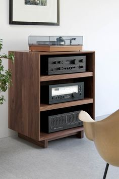 With adjustable solid wood shelves and a removable back panel with cutouts for wire management, the AERO Audio Rack is premium custom media furniture. Audio Rack, Audio Stand, Hifi Stand, Audio Box, Stereo Cabinet, Record Cabinet, Record Rack, Media Cabinet, Design Industrial