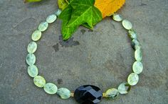 Prehnite and Black Onyx Handcrafted Necklace. Tap into your divine energy with this soothing gemstone of unconditional love. Handcrafted with love by yours truly. Click on this photo to view in more detail. :)