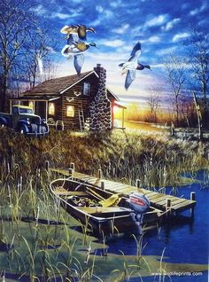 An old truck sits parked outside the log hunting cabin as the mallard ducks fly overhead. Hunting Art, Hunting Cabin, Duck Hunting, Wildlife Paintings, Wildlife Art, Landscape Art, Landscape Paintings, Kinkade Paintings, Image Deco
