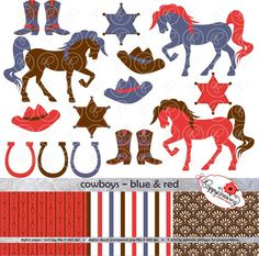Cowboys Blue & Red Digital Clipart Scrapbook Paper by poppydreamz, $4.00