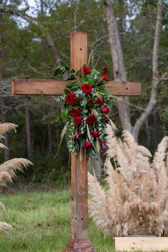 Old wooden cross for ceremony altar