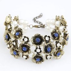 Christmas Sapphire Multilayer Vintage Flower Decorated Alloy Korean Fashion Bracelet  www.asujewelry.com