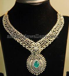Jewellery Designs: Diamond Necklace with Emerald by Gehna Real Diamond Necklace, Stone Necklace, Diamond Jewelry, Gold Jewelry, Jewelery, Black Diamond Bands, Uncut Diamond, Emerald Diamond, Indian Jewellery Design