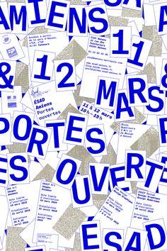 Proposition d'affiche retenue pour les journée portes ouvertes de l'ÉSAD d'Amiens les 11 et 12 mars 2016.Caractère utilisé: Atlas TypewriterImpression Offset, encre métallisée.