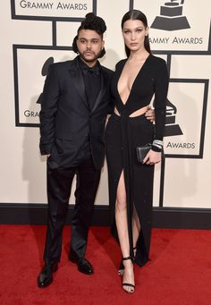 Bella Hadid in Alexandre Vauthier, and The Weeknd wearing Givenchy by Riccardo Tisci   - HarpersBAZAAR.co.uk