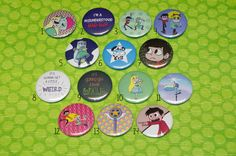 This set of 14 pin buttons is a perfect gift for any Star vs the Forces of Evil fan. You can choose any quantity of buttons you want - they will be made to order :) PLEASE SPECIFY WHICH DESIGNS AND HOW MANY OF THEM YOU WANT IN NOTE TO SELLER. The buttons are 37 mm (1,46) with a protective mylar layer. Shipping in a bubble envelope including insurance. I can also make custom listing with badges with any picture/photo you want for the same price - feel free to message me if you are interest...