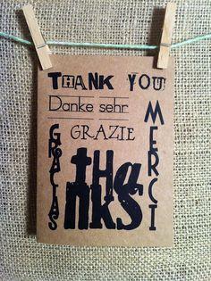 thank you. merci. gracias. thanks. grazie. danke sehr. thank you card. kraft. black. - $3.95