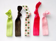 Preppy Argyle Elastic Hairbands - Argyle Print Ponytail Holders - Hair Accessories - Green Pink Brown - Knotted Hair Ties