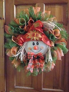 Fall Deco Mesh Wreath Scarecrow Thanksgiving by Virginia Quilling Deco Mesh Crafts, Wreath Crafts, Diy Wreath, Wreath Ideas, Thanksgiving Wreaths, Autumn Wreaths, Holiday Wreaths, Halloween Wreaths, Wreath Fall