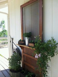 old screen door used for decoration..