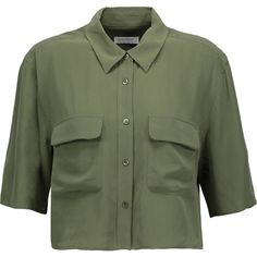 Equipment Cropped washed-silk shirt (400 RON) ❤ liked on Polyvore featuring tops, army green, green top, silk shirt, olive green crop top, loose crop top and silk top