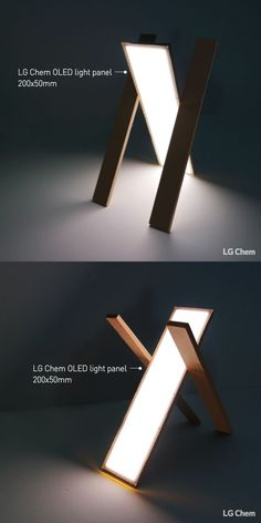This DIY light 'Tars' made with LG Chem OLED light panel, can be placed… Lighting System, Lighting Solutions, Lighting Design, Wooden Lamp, Wooden Diy, Desk Light, Lamp Light, Oled Light, Diy Luz