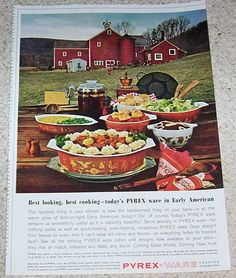 1963 vintage print ad - Pyrex Ware Ovenware -Early American- Corning Glass Works #Pyrex