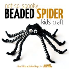 Isn't this not-so-spooky spider adorable? Make a beaded spider kids' craft for Halloween or any time of year!