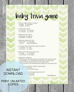 Printable Lime Green Arrow Baby Shower Trivia Game - Print It Baby