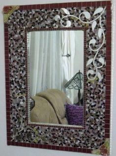 Rectangular mosiac mirror with stem and leaf design Mirror Mosaic, Mirror Tiles, Mosaic Art, Mosaic Glass, Mosaic Tiles, Stained Glass, Glass Art, Mirror Mirror, Mosaic Madness