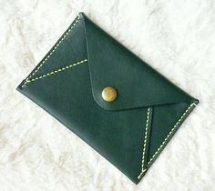 Handmade Leather Purse / Leather Passport Holder / Leather Wallet / Leather iphone 5s / 5c / 4 / 4s Case - Green Genuine Cow Leather
