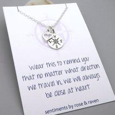 Best Friends Compass Necklace  message card  door SentimentsByRR