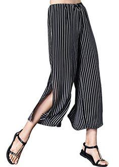 f0edeebf86 Gihuo Womens Casual Striped Wide Leg Side Slits Palazzo Crop Pants Medium  Black >>> BEST VALUE BUY on Amazon #PalazzoPants