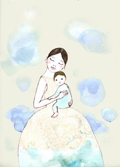 SALE Blue Clouds mom and baby Deluxe print of original drawing Mom And Baby, Baby Love, Blue Clouds, Art Graphique, Animation, Mothers Love, Mother And Child, Book Illustration, Clipart