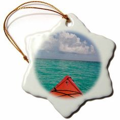 3dRose Belize, Caribbean Sea. Kayaking off the coast of Southwater Cay., Snowflake Ornament, Porcelain, 3-inch