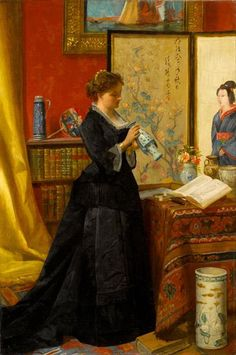 Alfred Stevens (1823-1906) Belgian Painter, Porcelain Collector.