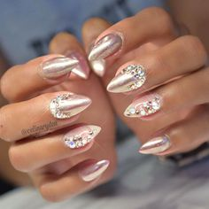 Bedazzled Chrome Nude Nails by @celinaryden.