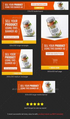 Buy Product Sale Banner Design Template by admiral_adictus on GraphicRiver. Use this banner template to sell any of your products online Web Banner sizes These are the banner sizes that will gi. Google Banner, Banner Template, Cover Template, Bottle Cleaner, Ad Design, Graphic Design, Web Design Quotes, Branding, Instagram Banner