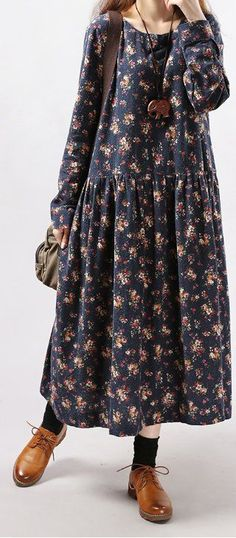 New women loose fit plus over size flower ethnic long dress maxi tunic robe